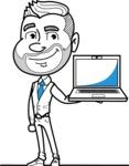 Flat Linear Man Cartoon Vector Character AKA Bob Beardman - Laptop 2