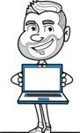 Flat Linear Man Cartoon Vector Character AKA Bob Beardman - Laptop 3