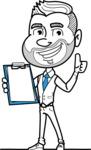 Flat Linear Man Cartoon Vector Character AKA Bob Beardman - Notepad 1