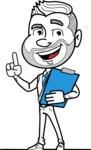 Flat Linear Man Cartoon Vector Character AKA Bob Beardman - Notepad 2