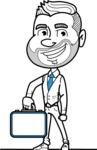 Flat Linear Man Cartoon Vector Character AKA Bob Beardman - Brifcase 1
