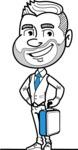 Flat Linear Man Cartoon Vector Character AKA Bob Beardman - Brifcase 2