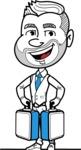 Flat Linear Man Cartoon Vector Character AKA Bob Beardman - Brifcase 3