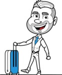 Flat Linear Man Cartoon Vector Character AKA Bob Beardman - Travel 1