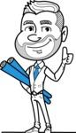 Flat Linear Man Cartoon Vector Character AKA Bob Beardman - Plans