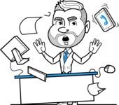Flat Linear Man Cartoon Vector Character AKA Bob Beardman - Office Fever