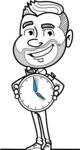 Flat Linear Man Cartoon Vector Character AKA Bob Beardman - Time is Yours