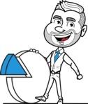 Flat Linear Man Cartoon Vector Character AKA Bob Beardman - Chart