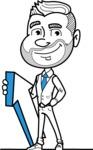 Flat Linear Man Cartoon Vector Character AKA Bob Beardman - Pointer 1