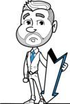 Flat Linear Man Cartoon Vector Character AKA Bob Beardman - Pointer 3
