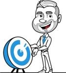 Flat Linear Man Cartoon Vector Character AKA Bob Beardman - Target