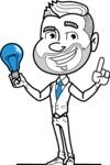Flat Linear Man Cartoon Vector Character AKA Bob Beardman - Idea 1