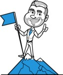 Flat Linear Man Cartoon Vector Character AKA Bob Beardman - On Top