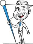 Flat Linear Man Cartoon Vector Character AKA Bob Beardman - Checkpoint