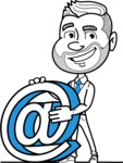 Flat Linear Man Cartoon Vector Character AKA Bob Beardman - Email
