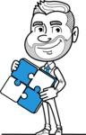 Flat Linear Man Cartoon Vector Character AKA Bob Beardman - Puzzle