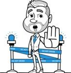 Flat Linear Man Cartoon Vector Character AKA Bob Beardman - Under Construction 2