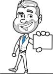 Flat Linear Man Cartoon Vector Character AKA Bob Beardman - Sign 1