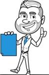 Flat Linear Man Cartoon Vector Character AKA Bob Beardman - Sign 2