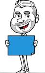 Flat Linear Man Cartoon Vector Character AKA Bob Beardman - Sign 4