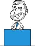 Flat Linear Man Cartoon Vector Character AKA Bob Beardman - Sign 6