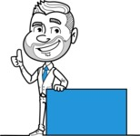 Flat Linear Man Cartoon Vector Character AKA Bob Beardman - Sign 7