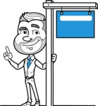 Flat Linear Man Cartoon Vector Character AKA Bob Beardman - Sign 9