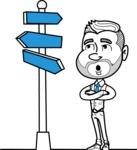 Flat Linear Man Cartoon Vector Character AKA Bob Beardman - Crossroad