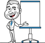 Flat Linear Man Cartoon Vector Character AKA Bob Beardman - Presentation 1