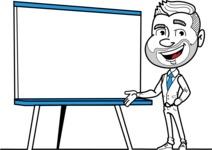 Flat Linear Man Cartoon Vector Character AKA Bob Beardman - Presentation 2