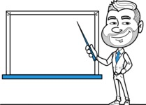 Flat Linear Man Cartoon Vector Character AKA Bob Beardman - Presentation 3