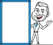 Flat Linear Man Cartoon Vector Character AKA Bob Beardman - Presentation 4