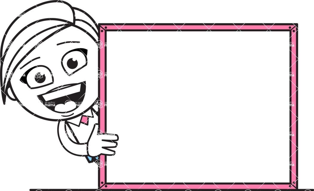 Cute Black and White Girl Cartoon Vector Character AKA Heidy - Presentation 5