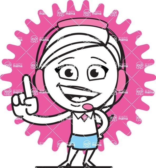 Cute Black and White Girl Cartoon Vector Character AKA Heidy - Shape 8