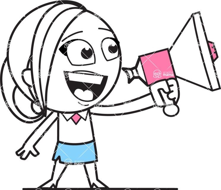 Cute Black and White Girl Cartoon Vector Character AKA Heidy - Loudspeaker