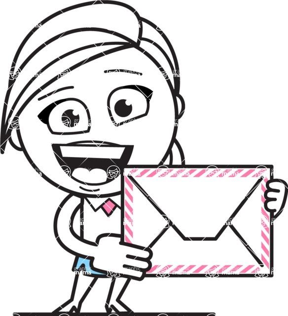 Cute Black and White Girl Cartoon Vector Character AKA Heidy - Letter