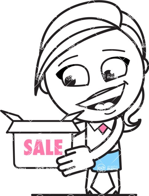 Cute Black and White Girl Cartoon Vector Character AKA Heidy - Sale