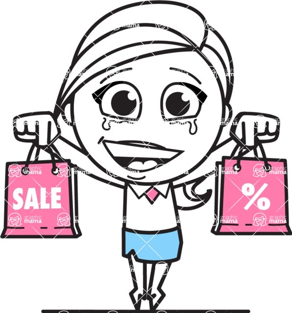 Cute Black and White Girl Cartoon Vector Character AKA Heidy - Sale2