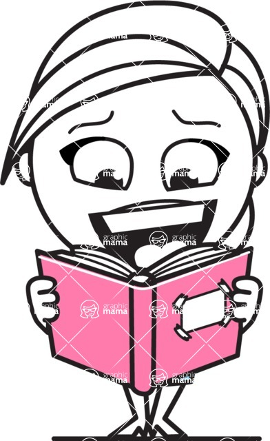Cute Black and White Girl Cartoon Vector Character AKA Heidy - Book 1