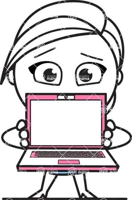 Cute Black and White Girl Cartoon Vector Character AKA Heidy - Laptop 3