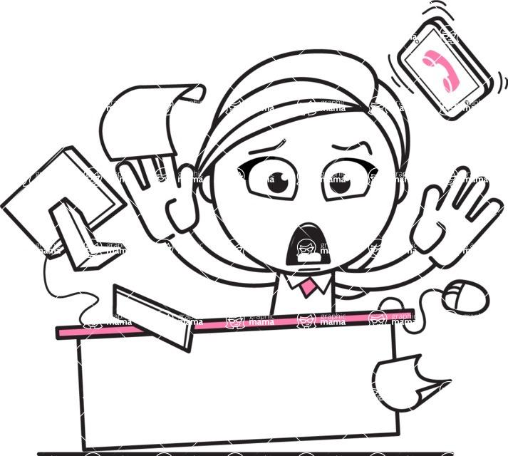 Cute Black and White Girl Cartoon Vector Character AKA Heidy - Office Fever