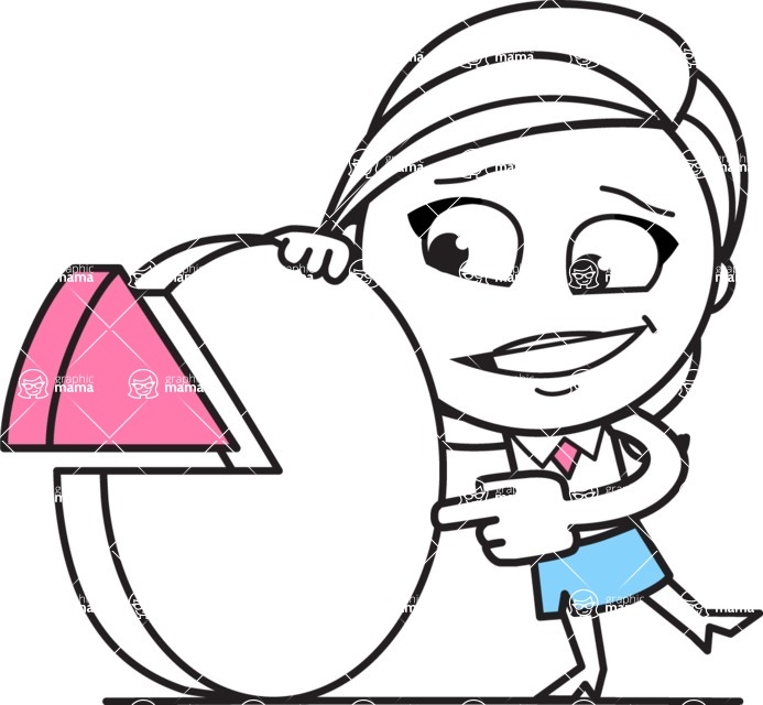 Cute Black and White Girl Cartoon Vector Character AKA Heidy - Chart