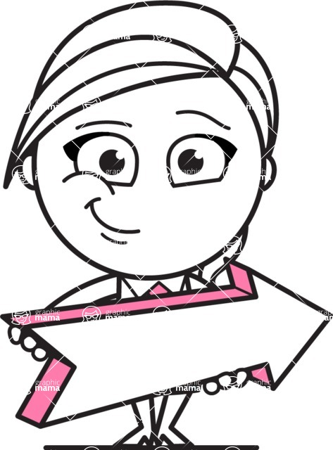 Cute Black and White Girl Cartoon Vector Character AKA Heidy - Pointer 2