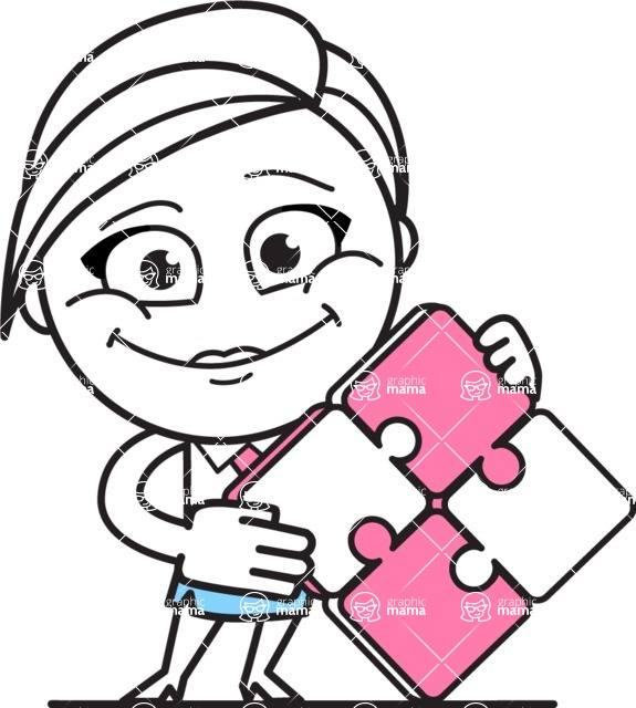 Cute Black and White Girl Cartoon Vector Character AKA Heidy - Puzzle