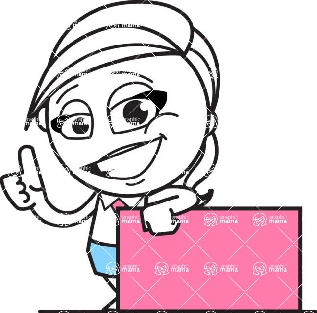 Cute Black and White Girl Cartoon Vector Character AKA Heidy - Sign 7