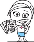 Cute Black and White Girl Cartoon Vector Character AKA Heidy - Show me the Money