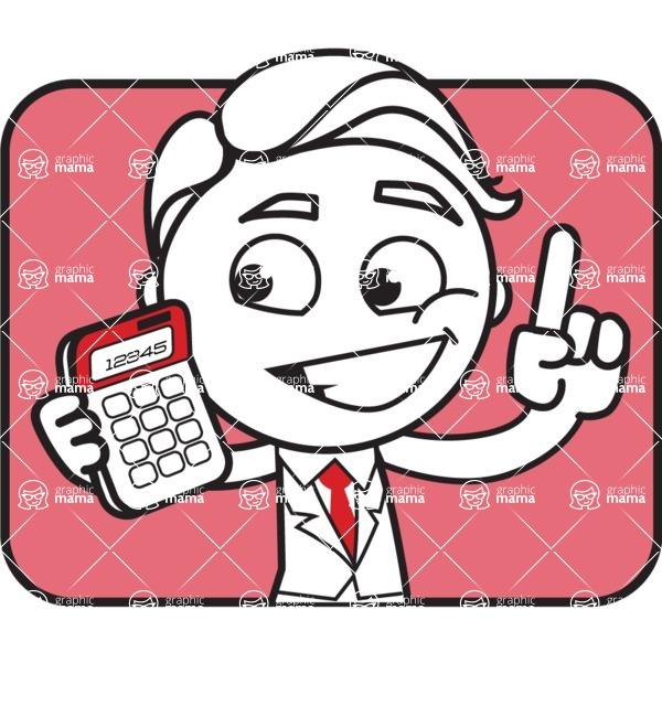 Outline Man in Suit Cartoon Vector Character AKA Ben the Banker - Shape 2