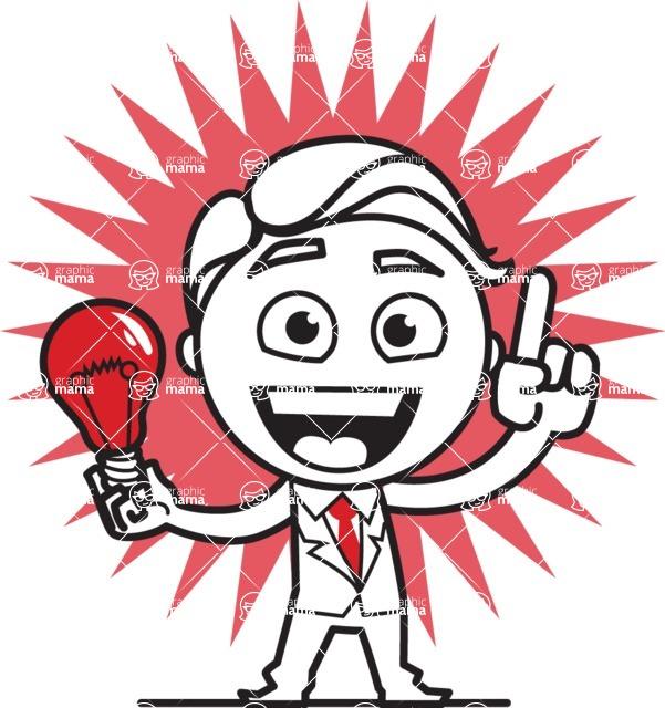 Outline Man in Suit Cartoon Vector Character AKA Ben the Banker - Shape 8