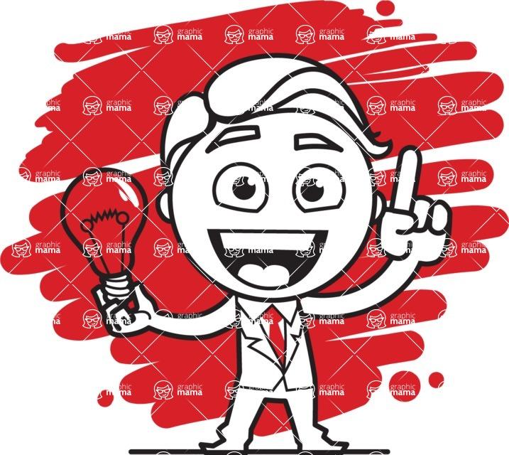 Outline Man in Suit Cartoon Vector Character AKA Ben the Banker - Shape 12