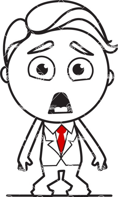 Outline Man in Suit Cartoon Vector Character AKA Ben the Banker - Stunned